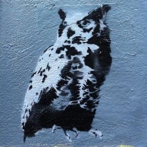Owl Stencil Street Art Hackney Road, London